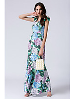 STEPHANIE Women's Going out Casual/Daily Sexy Loose Sheath DressFloral V Neck Maxi Sleeveless Silk Summer Mid Rise Micro-elastic Sheer Opaque