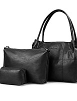 Mujer Conjuntos de Bolsa PU Todas las Temporadas Casual De Compras Cremallera Azul Piscina Negro Rojo Morado