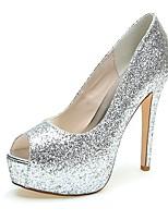 Feminino Sapatos De Casamento Chanel Verão Outono Glitter Casamento Social Festas & Noite Gliter com Brilho Salto Agulha Dourado Prateado