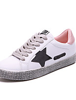 Women's Sneakers Comfort Spring Fall Fabric Athletic Casual Outdoor Dress Lace-up Flat Heel Black Silver Blushing Pink Flat