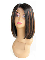Short Bob Human Hair Lace Front Wigs Brazilian Virgin Glueless Silk Straight Hair Wigs with Baby Hair for Black Women Highlight Color