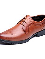 Men's Shoes Synthetic Microfiber PU Spring Fall Comfort Novelty Oxfords Lace-up For Wedding Party & Evening Office & Career Black Red