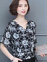 Для женщин На каждый день Лето Блуза V-образный вырез,Простое Цветочный принт Рукав до локтя,Другое
