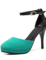Women's Sandals Basic Pump Summer PU Wedding Party & Evening Buckle Stiletto Heel Black Beige Blue 4in-4 3/4in