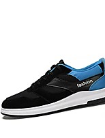 Men's Athletic Shoes Light Soles Spring Fall Tulle Casual Outdoor Lace-up Flat Heel Black/White Black/Red Black/Blue 3in-3 3/4in