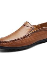Для мужчин Мокасины и Свитер Удобная обувь Кожа Весна Осень Повседневные Для вечеринки / ужина На плоской подошве Черный Коричневый Хаки