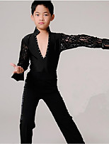 Latin Dance Outfits Boys' Performance Polyester Lace Laces 2 Pieces Long Sleeve High Tops Pants