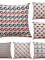 Set of 6 Anchors Rudder Pattern Linen Cushion Cover Home Office Sofa Square Pillow Case Decorative Cushion Covers Pillowcases (18*18Inch)