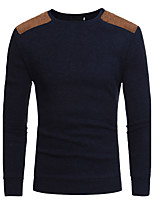 Men's Casual/Daily Regular Pullover,Solid Round Neck Long Sleeves Acrylic Fall Medium Stretchy