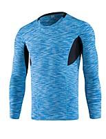 Homens Regata de Corrida Manga Longa Respirabilidade Esticar Camiseta Pulôver Blusas para Correr Exercício e Atividade Física Elastano
