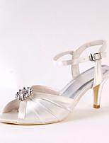 Women's Wedding Shoes Basic Pump Silk Spring Fall Wedding Party & Evening Dress Basic Pump Rhinestone Stiletto Heel Ivory 3in-3 3/4in