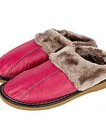 Для женщин Тапочки и Шлепанцы Удобная обувь Кожа Осень Зима Повседневные Комбинация материалов На плоской подошвеЛиловый Пурпурный