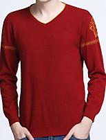 Standard Pullover Da uomo-Casual Semplice Tinta unita Con stampe A V Manica lunga Cashmere Primavera Medio spessore Elasticizzato