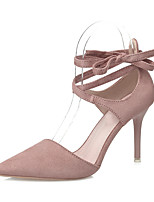 Women's Sandals Novelty Summer Fabric Dress Party & Evening Lace-up Stiletto Heel Black Light Grey Green Light Pink 4in-4 3/4in