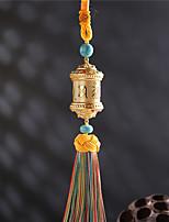 Diy pendentifs automobiles buddhisme six mots mantra tourner pendentif voiture&Ornements glands en coton en alliage