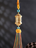 DIY Automotive Pendants Buddhism six words mantra turn Car Pendant & Ornaments  Alloy Cotton Tassels