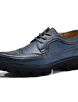 Men's Wedding Shoes Comfort Fall Winter Real Leather Wedding Party & Evening Lace-up Low Heel Yellow Gray Dark Blue Black Under 1in
