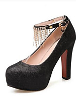 Women's Shoes PU Spring Comfort Heels For Casual Black Silver Blushing Pink