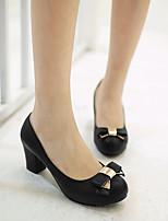 Для женщин Обувь Полиуретан Весна Осень Удобная обувь Обувь на каблуках На низком каблуке Круглый носок Назначение Повседневные Черный