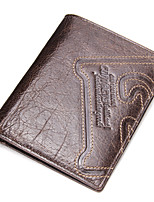 Genuine Bifold Short Wallet for Men Money Clip Cowhide All Seasons Daily Casual Rectangle Pattern / Print No Clasp Dark Brown