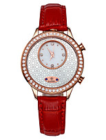 Women's Fashion Watch Quartz Genuine Leather Band Red