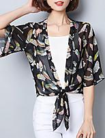 Для женщин На выход На каждый день Лето Осень Блуза V-образный вырез,Очаровательный Цветочный принт С принтом Рукав до локтя,Полиэстер,