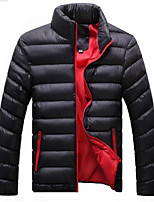Men's Regular Padded Coat,Simple Casual/Daily Solid-Cotton Polypropylene Long Sleeves