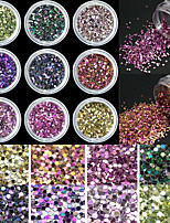 9Bottles/Set Colorful Mini Charms Glitter Round Sequins Nail Art DIY Decorations Nail 3D Slice Manicure Nail Art DIY Beauty YD01-09