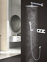 Contemporary Modern Style Wall Mounted Rain Shower Handshower Included with  Three Handles Chrome  Shower Faucet  Set