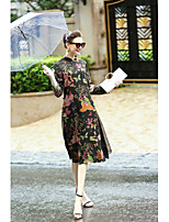 REVIENNE BAY  Women's Casual/Daily Chinoiserie Loose DressFloral Stand Midi Long Sleeve Rayon Others Spring Summer Mid Rise Micro-elastic Medium