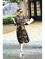 Для женщин На каждый день Шинуазери (китайский стиль) Свободный силуэт Платье Цветочный принт,Воротник-стойка Средней длины Длинный рукав