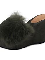 Для женщин Тапочки и Шлепанцы Удобная обувь Осень Кожа / мех Повседневные На танкетке Черный Красный Зеленый 4,5 - 7 см