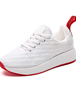 Women's Sneakers Comfort Spring Fall Polyurethane Casual Outdoor Lace-up Low Heel White Black 1in-1 3/4in