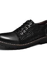 Men's Oxfords Comfort Nappa Leather Fall Winter Casual Office & Career Party & Evening Lace-up Flat Heel Brown Black Flat
