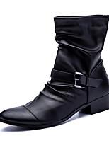 Men's Boots Comfort Combat Boots Fall Winter PU Casual Zipper Low Heel Black Flat