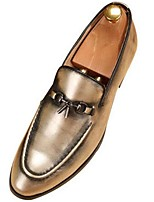 Men's Oxfords Formal Shoes Fall Winter Patent Leather Casual Party & Evening Light Brown Gold 1in-1 3/4in