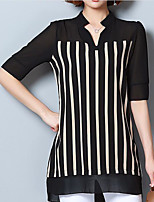 Women's Casual/Daily Simple Summer Blouse,Striped V Neck 3/4 Length Sleeve Others