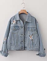 Women's Casual/Daily Simple Spring Fall Denim Jacket,Solid Shirt Collar Long Sleeve Short Silk