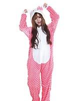 kigurumi Pyjamas Chat Fête / Célébration Pyjamas Animale Halloween Mode Pois Brodée Flanelle Costumes de Cosplay Kigurumi PourFéminin