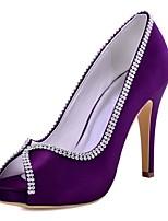 Femme Chaussures à Talons Escarpin Basique Satin Elastique Printemps Eté Mariage Habillé Cristal Talon AiguilleNoir Bleu de minuit