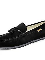 Men's Loafers & Slip-Ons Comfort PU Spring Fall Casual Ruched Flat Heel Khaki Brown Gray Black Flat