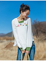 YOUJIN Women's Casual/Daily Simple T-shirtSolid Print Square Neck Long Sleeve Cotton