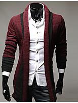 Standard Cardigan Da uomo-Per uscire Casual Moda città Tinta unita Colletto Manica lunga Cotone Elastene Autunno Inverno SpessoMedia