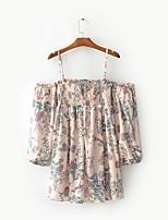Feminino Solto Vestido,Para Noite Casual Vintage Moda de Rua Floral Com Alças Mini Manga Longa Algodão Verão Outono Cintura MédiaSem