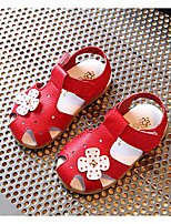 Girls' Sandals Comfort Summer PU Casual White Black Ruby Blushing Pink Flat