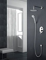 Modern Style Wall Mounted Rain Shower Handshower Included Wall Mount with  Chrome  Shower Faucet Set
