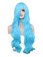 Pelucas sintéticas Sin Tapa Largo Rizado Rubio Azul Peluca de cosplay Las pelucas del traje