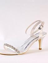 Femme Chaussures de mariage Escarpin Basique Soie Printemps Eté Mariage Habillé Soirée & Evénement Strass Chaîne Talon Aiguille Ivoire7,5