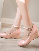 Women's Shoes PU Spring Comfort Heels Wedge Heel Round Toe With For Casual Black Beige Blushing Pink