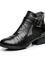 Women's Heels Comfort Summer PU Casual Black 1in-1 3/4in